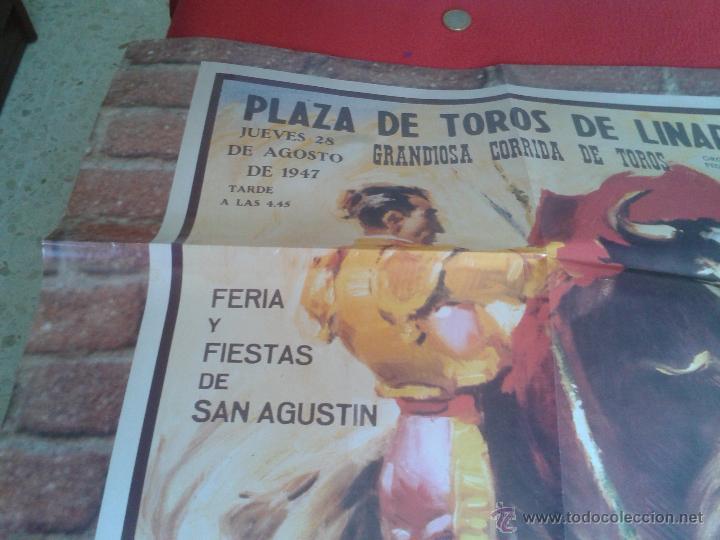 Tauromaquia: BONITA REPRODUCCION CARTEL DIA DE LA MUERTE DE MANOLETE PLAZA DE TOROS DE LINARES JAEN 1947 IDEAL CO - Foto 5 - 61311078