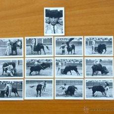 Tauromaquia: CARLOS ARRUZA - FOTOS TAURINAS - PRODUCTOS BÚFALO - SERIE COMPLETA, 13 CROMOS - TOREROS, TOROS. Lote 52786366