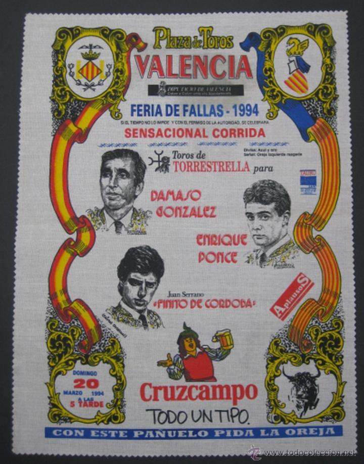 PAÑUELO CARTEL TOROS VALENCIA FALLAS 1994 (Coleccionismo - Tauromaquia)
