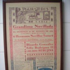 Tauromaquia: AÑO 1931, BONITO CARTEL DE TOROS 100 % ORIGINAL.PLAZA DE TOROS DE CÁDIZ. (J. J. REBUJINA.....). Lote 53441094