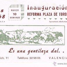 Tauromaquia: VALENCIA. DIPTICO. FALLAS 1968. INAUGURACION REFORMA PLAZA DE TOROS. Lote 53636374
