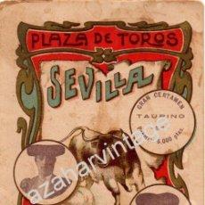 Tauromaquia: SEVILLA,1913, PROGRAMA CORRIDA CONCURSO,EL GALLO, COCHERITO DE BILBAO Y MARTIN VAZQUEZ. Lote 53723565