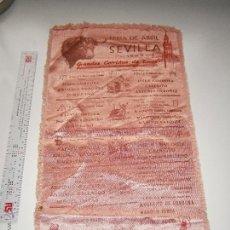 Tauromaquia: CARTEL DE TOROS EN SEDA - FERIA DE SEVILLA 1953 - EN PERFECTO ESTADO. Lote 53727663