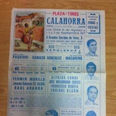 Tauromaquia: CARTEL DE TOROS CALAHORRA SEPTIEMBRE 1971.PAQUIRRI,DAMASO GONZALEZ,FERMIN MURILLO..... Lote 53808138