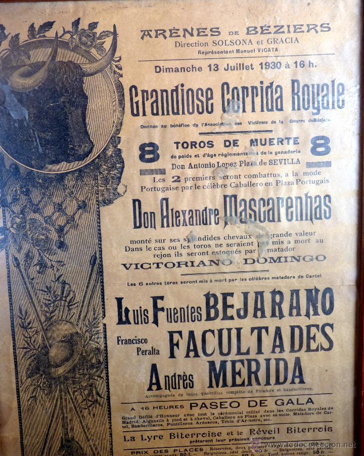 EXCEPCIONAL CARTEL DE TOROS DE FRANCIA BEZIERS 1930 (Coleccionismo - Tauromaquia)