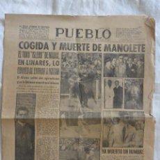 Tauromaquia: PERIODICO PUEBLO COGIDA Y MUERTE DE MANOLETE. Lote 53972905