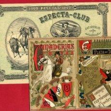 Tauromaquia: CARPETA CON PROGRAMA , CARTEL TOROS ESPECTA CLUB , ALICANTE 1892 , TIPO BILLETE , ORIGINAL. Lote 53997141