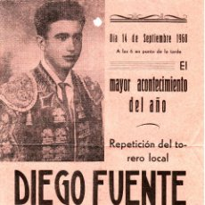 Tauromaquia: CARTEL AÑO 1960 16X22 CM - 3 NOVILLOS - TOROS - DIEGO FUENTE - EXTREMADURA - PIE IMPRENTA BADAJOZ. Lote 54104909