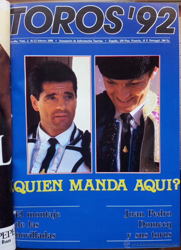 Tauromaquia: REVISTA TOROS 92 AÑO 1988 - 10 NUMEROS EN UN TOMO ENCUADERNADO - Foto 2 - 54911364