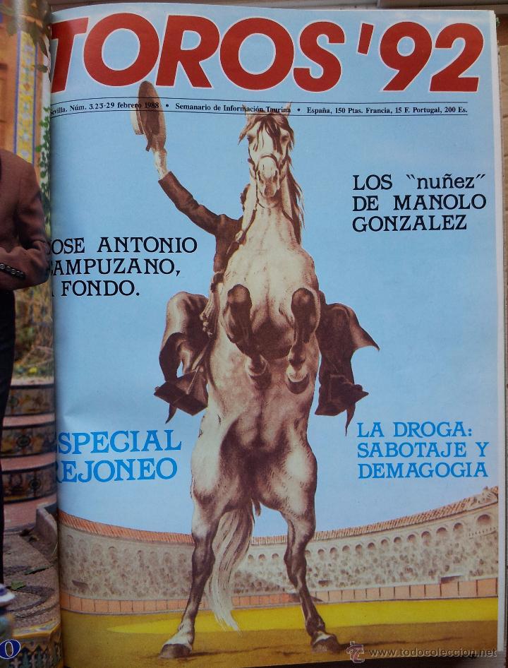 Tauromaquia: REVISTA TOROS 92 AÑO 1988 - 10 NUMEROS EN UN TOMO ENCUADERNADO - Foto 3 - 54911364
