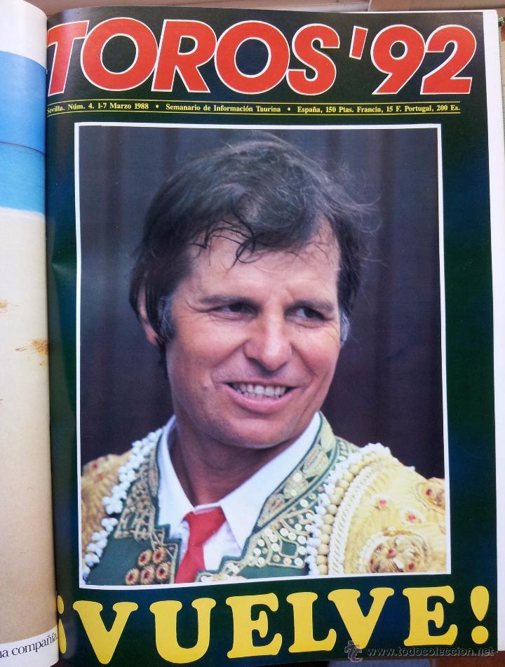 Tauromaquia: REVISTA TOROS 92 AÑO 1988 - 10 NUMEROS EN UN TOMO ENCUADERNADO - Foto 4 - 54911364