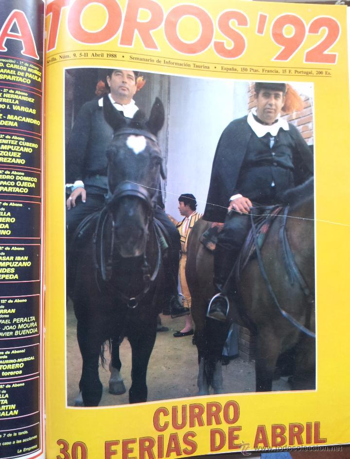 Tauromaquia: REVISTA TOROS 92 AÑO 1988 - 10 NUMEROS EN UN TOMO ENCUADERNADO - Foto 9 - 54911364
