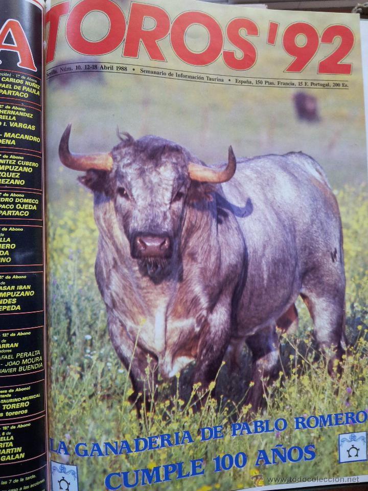 Tauromaquia: REVISTA TOROS 92 AÑO 1988 - 10 NUMEROS EN UN TOMO ENCUADERNADO - Foto 10 - 54911364