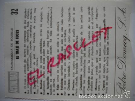 Tauromaquia: TAUROMAQUIA DE BOLSILLO- EL TRAJE DE LUCES - Nº 32 -- PEDRO DOMECQ. - Foto 2 - 55347361