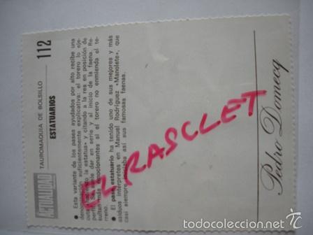 Tauromaquia: TAUROMAQUIA DE BOLSILLO- ESTATUARIOS - Nº 112-- PEDRO DOMECQ. - Foto 2 - 55374325