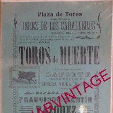 Tauromaquia: JEREZ DE LOS CABALLEROS, BADAJOZ,1912, CARTEL CORRIDA DE TOROS, UNA JOYA!!! 208X435MM. Lote 55923748