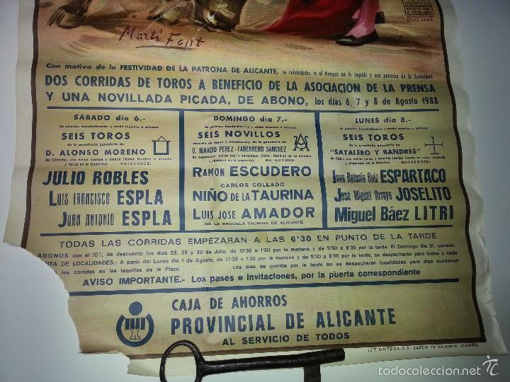 Tauromaquia: ANTIGUO CARTEL GRANDE PLAZA DE TOROS DE ALICANTE FERIA AGOSTO DE 1988 ESPLA - Foto 4 - 56018774