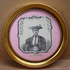 Tauromaquia: LITOGRAFIA ENMARCADA DEL MATADOR A. CALDERON. CIRCA 1890. Lote 56149840