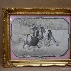 Tauromaquia: LITOGRAFIA ENMARCADA CON ESCENA TAURINA. SUERTE DE VARA. CIRCA 1890. Lote 56149992