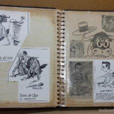 Tauromaquia: ALBUM TAURINO RECOPILANDO ENTRADAS PLAZA DE TOROS - DIBUJOS - RECORTES - MATERIAL TAURINO. AÑOS 50. Lote 56150353