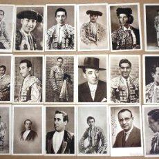 Tauromaquia: LOTE DE 33 TARJETAS POSTALES TOREROS ALBUM BIOGRAFICO TAURINO. CURRO MELOJA. AÑO 1945. Lote 56152739