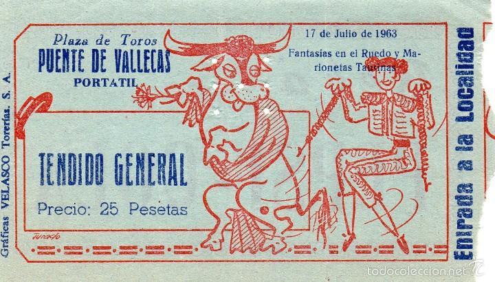 RARA ENTRADA PLAZA DE TOROS DE VALLECAS PORTATIL - 17 JULIO 1963, usado segunda mano