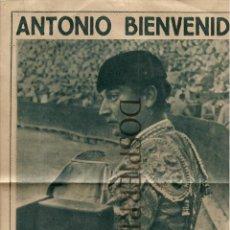 Tauromaquia: RECORTE DE PRENSA, FOTO ANTONIO BIENVENIDA, AÑOS 50, TOROS, TOREROS ,. Lote 56202136