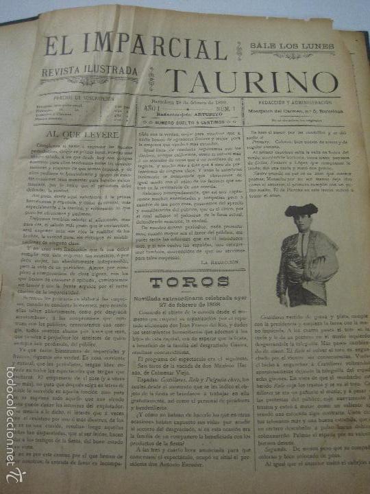 EL IMPARCIAL TAURINO -44 PRIMERAS REVISTAS- BARCELONA AÑO 1898 - VER FOTOS - MIDE 25X36CM-(V-5460) (Coleccionismo - Tauromaquia)