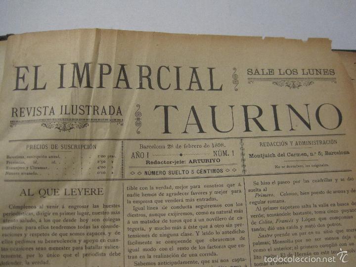 Tauromaquia: EL IMPARCIAL TAURINO -44 PRIMERAS REVISTAS- BARCELONA AÑO 1898 - VER FOTOS - MIDE 25X36CM-(V-5460) - Foto 3 - 56595975