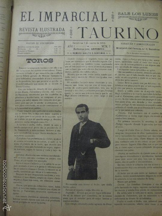 Tauromaquia: EL IMPARCIAL TAURINO -44 PRIMERAS REVISTAS- BARCELONA AÑO 1898 - VER FOTOS - MIDE 25X36CM-(V-5460) - Foto 5 - 56595975