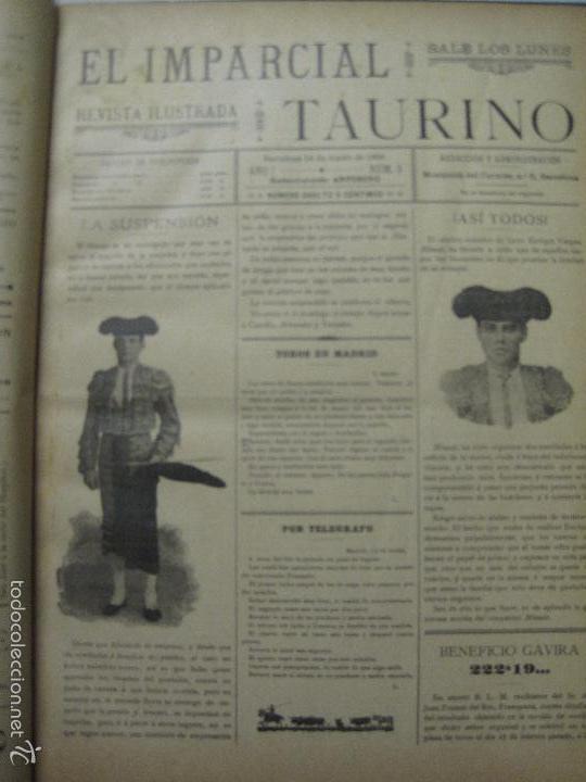 Tauromaquia: EL IMPARCIAL TAURINO -44 PRIMERAS REVISTAS- BARCELONA AÑO 1898 - VER FOTOS - MIDE 25X36CM-(V-5460) - Foto 6 - 56595975