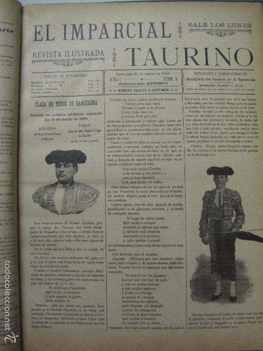 Tauromaquia: EL IMPARCIAL TAURINO -44 PRIMERAS REVISTAS- BARCELONA AÑO 1898 - VER FOTOS - MIDE 25X36CM-(V-5460) - Foto 7 - 56595975