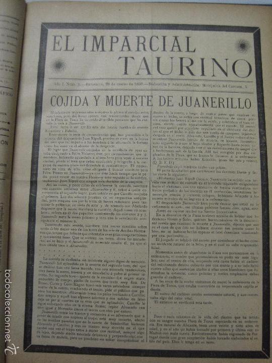 Tauromaquia: EL IMPARCIAL TAURINO -44 PRIMERAS REVISTAS- BARCELONA AÑO 1898 - VER FOTOS - MIDE 25X36CM-(V-5460) - Foto 8 - 56595975