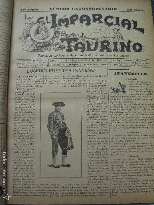 Tauromaquia: EL IMPARCIAL TAURINO -44 PRIMERAS REVISTAS- BARCELONA AÑO 1898 - VER FOTOS - MIDE 25X36CM-(V-5460) - Foto 9 - 56595975