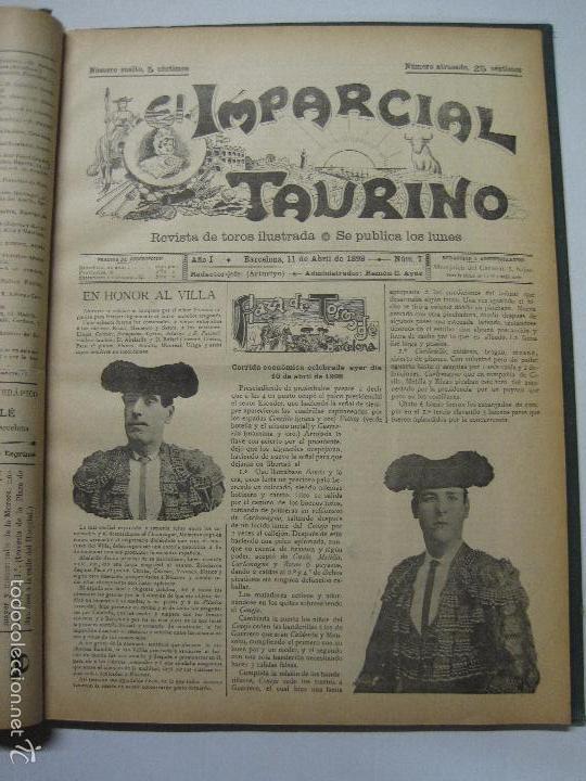 Tauromaquia: EL IMPARCIAL TAURINO -44 PRIMERAS REVISTAS- BARCELONA AÑO 1898 - VER FOTOS - MIDE 25X36CM-(V-5460) - Foto 10 - 56595975