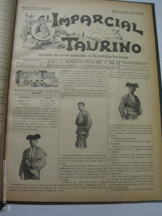 Tauromaquia: EL IMPARCIAL TAURINO -44 PRIMERAS REVISTAS- BARCELONA AÑO 1898 - VER FOTOS - MIDE 25X36CM-(V-5460) - Foto 11 - 56595975