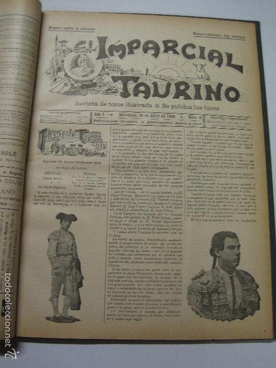 Tauromaquia: EL IMPARCIAL TAURINO -44 PRIMERAS REVISTAS- BARCELONA AÑO 1898 - VER FOTOS - MIDE 25X36CM-(V-5460) - Foto 12 - 56595975