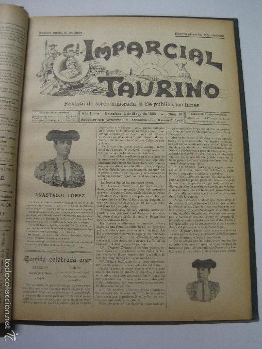 Tauromaquia: EL IMPARCIAL TAURINO -44 PRIMERAS REVISTAS- BARCELONA AÑO 1898 - VER FOTOS - MIDE 25X36CM-(V-5460) - Foto 13 - 56595975