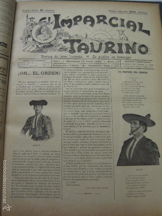 Tauromaquia: EL IMPARCIAL TAURINO -44 PRIMERAS REVISTAS- BARCELONA AÑO 1898 - VER FOTOS - MIDE 25X36CM-(V-5460) - Foto 20 - 56595975