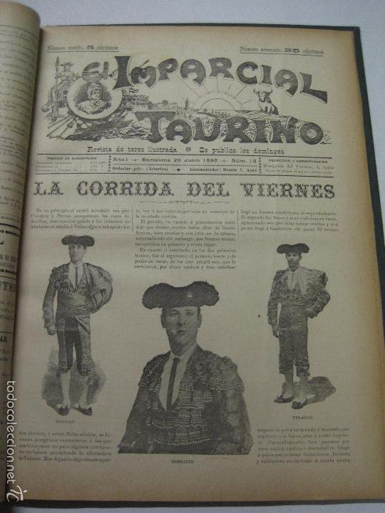 Tauromaquia: EL IMPARCIAL TAURINO -44 PRIMERAS REVISTAS- BARCELONA AÑO 1898 - VER FOTOS - MIDE 25X36CM-(V-5460) - Foto 21 - 56595975