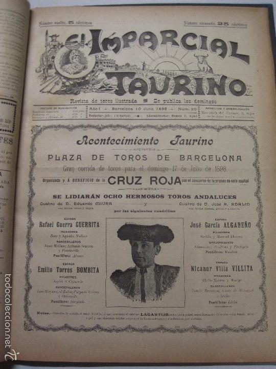 Tauromaquia: EL IMPARCIAL TAURINO -44 PRIMERAS REVISTAS- BARCELONA AÑO 1898 - VER FOTOS - MIDE 25X36CM-(V-5460) - Foto 23 - 56595975