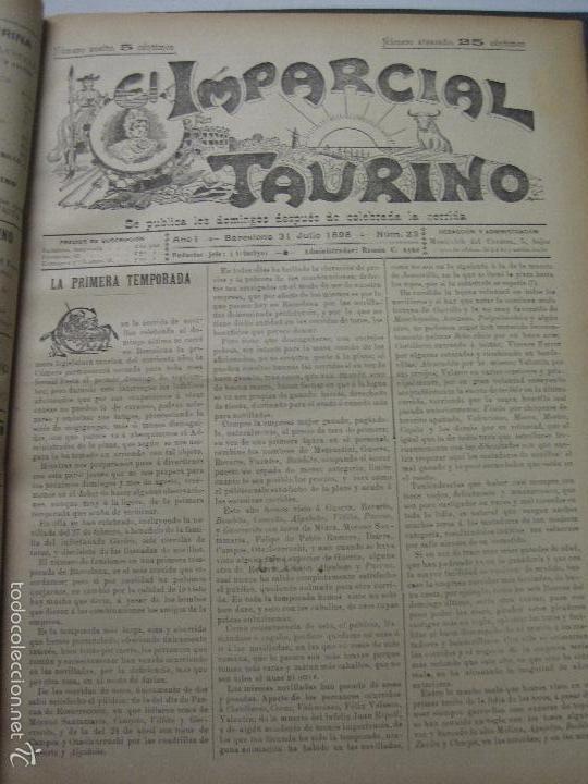 Tauromaquia: EL IMPARCIAL TAURINO -44 PRIMERAS REVISTAS- BARCELONA AÑO 1898 - VER FOTOS - MIDE 25X36CM-(V-5460) - Foto 26 - 56595975