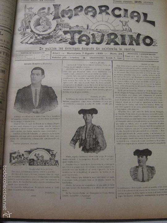 Tauromaquia: EL IMPARCIAL TAURINO -44 PRIMERAS REVISTAS- BARCELONA AÑO 1898 - VER FOTOS - MIDE 25X36CM-(V-5460) - Foto 27 - 56595975