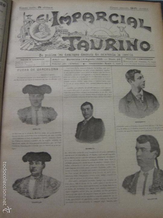 Tauromaquia: EL IMPARCIAL TAURINO -44 PRIMERAS REVISTAS- BARCELONA AÑO 1898 - VER FOTOS - MIDE 25X36CM-(V-5460) - Foto 28 - 56595975