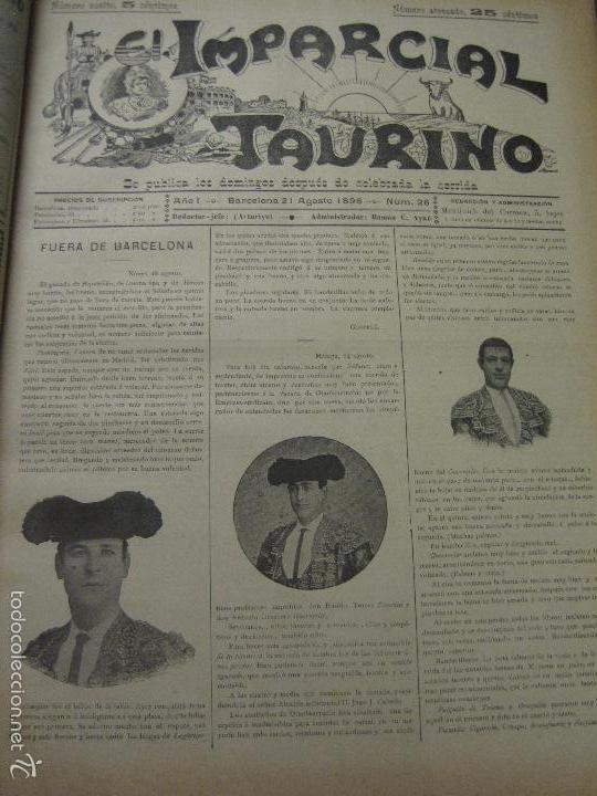 Tauromaquia: EL IMPARCIAL TAURINO -44 PRIMERAS REVISTAS- BARCELONA AÑO 1898 - VER FOTOS - MIDE 25X36CM-(V-5460) - Foto 29 - 56595975