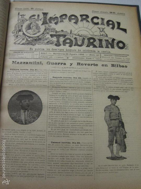 Tauromaquia: EL IMPARCIAL TAURINO -44 PRIMERAS REVISTAS- BARCELONA AÑO 1898 - VER FOTOS - MIDE 25X36CM-(V-5460) - Foto 30 - 56595975