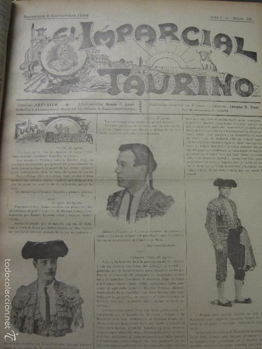 Tauromaquia: EL IMPARCIAL TAURINO -44 PRIMERAS REVISTAS- BARCELONA AÑO 1898 - VER FOTOS - MIDE 25X36CM-(V-5460) - Foto 31 - 56595975