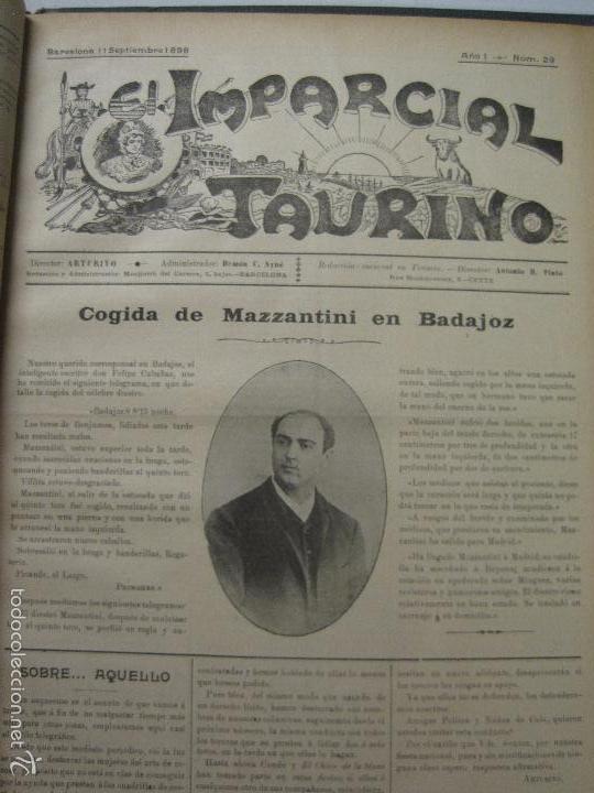 Tauromaquia: EL IMPARCIAL TAURINO -44 PRIMERAS REVISTAS- BARCELONA AÑO 1898 - VER FOTOS - MIDE 25X36CM-(V-5460) - Foto 32 - 56595975