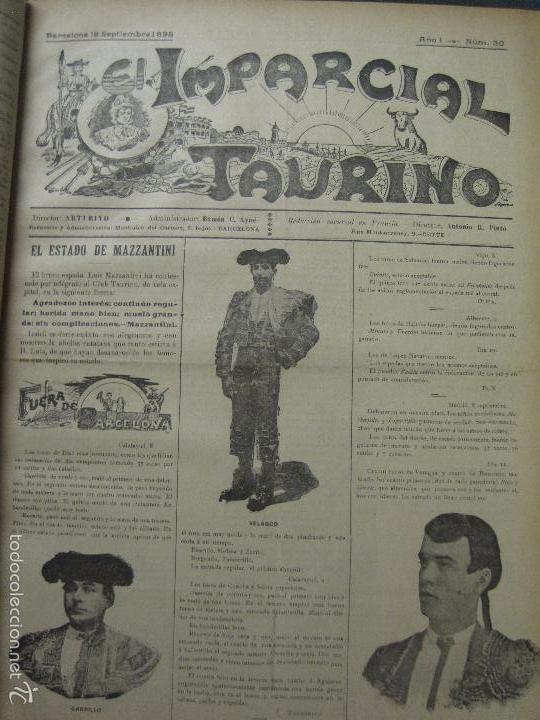 Tauromaquia: EL IMPARCIAL TAURINO -44 PRIMERAS REVISTAS- BARCELONA AÑO 1898 - VER FOTOS - MIDE 25X36CM-(V-5460) - Foto 33 - 56595975