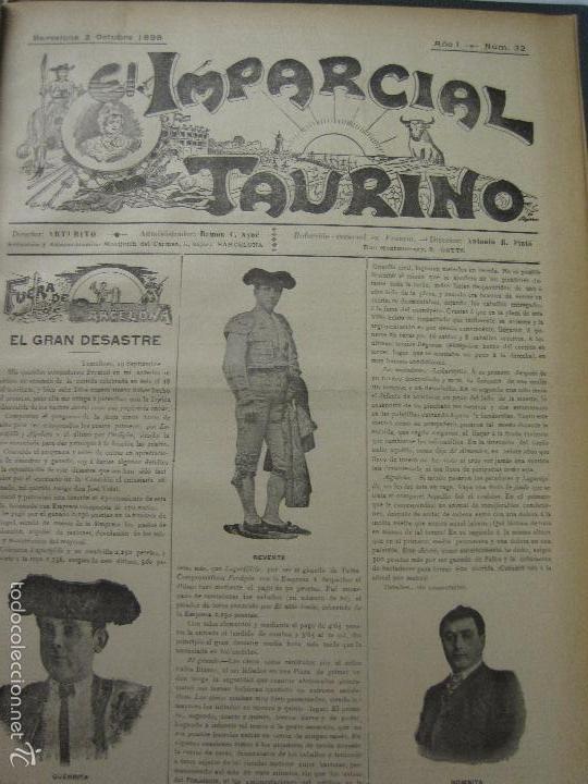 Tauromaquia: EL IMPARCIAL TAURINO -44 PRIMERAS REVISTAS- BARCELONA AÑO 1898 - VER FOTOS - MIDE 25X36CM-(V-5460) - Foto 35 - 56595975